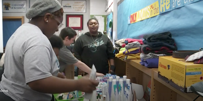Iroquois High School students helping the homeless